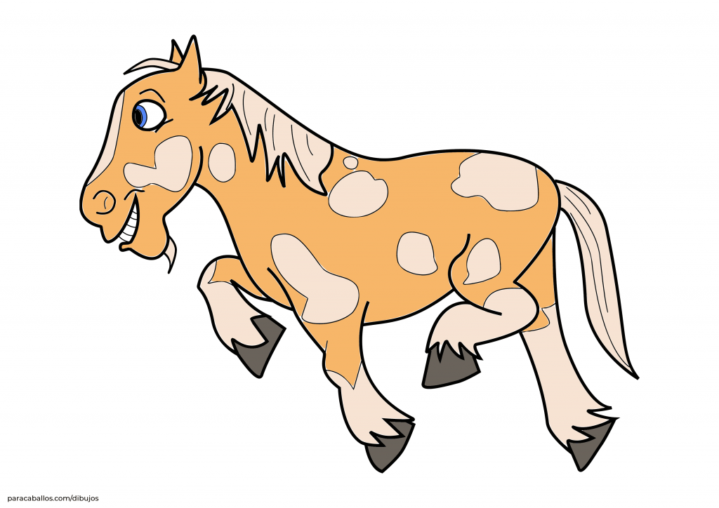Dibujo caballo percherón de la Granja Zenón en color.